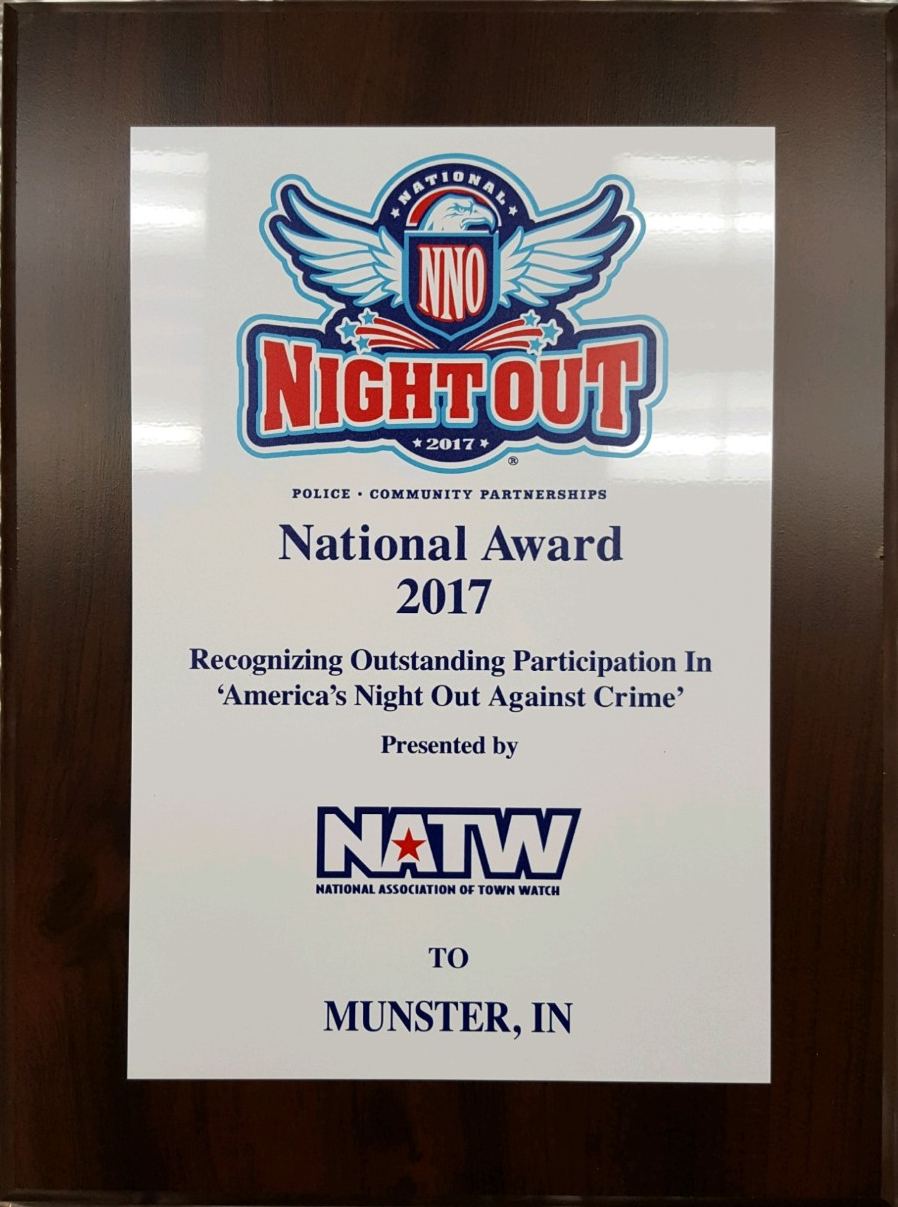 Image for news story: Munster's National Night Out Against Crime Event Receives Honor for Third Straight Year