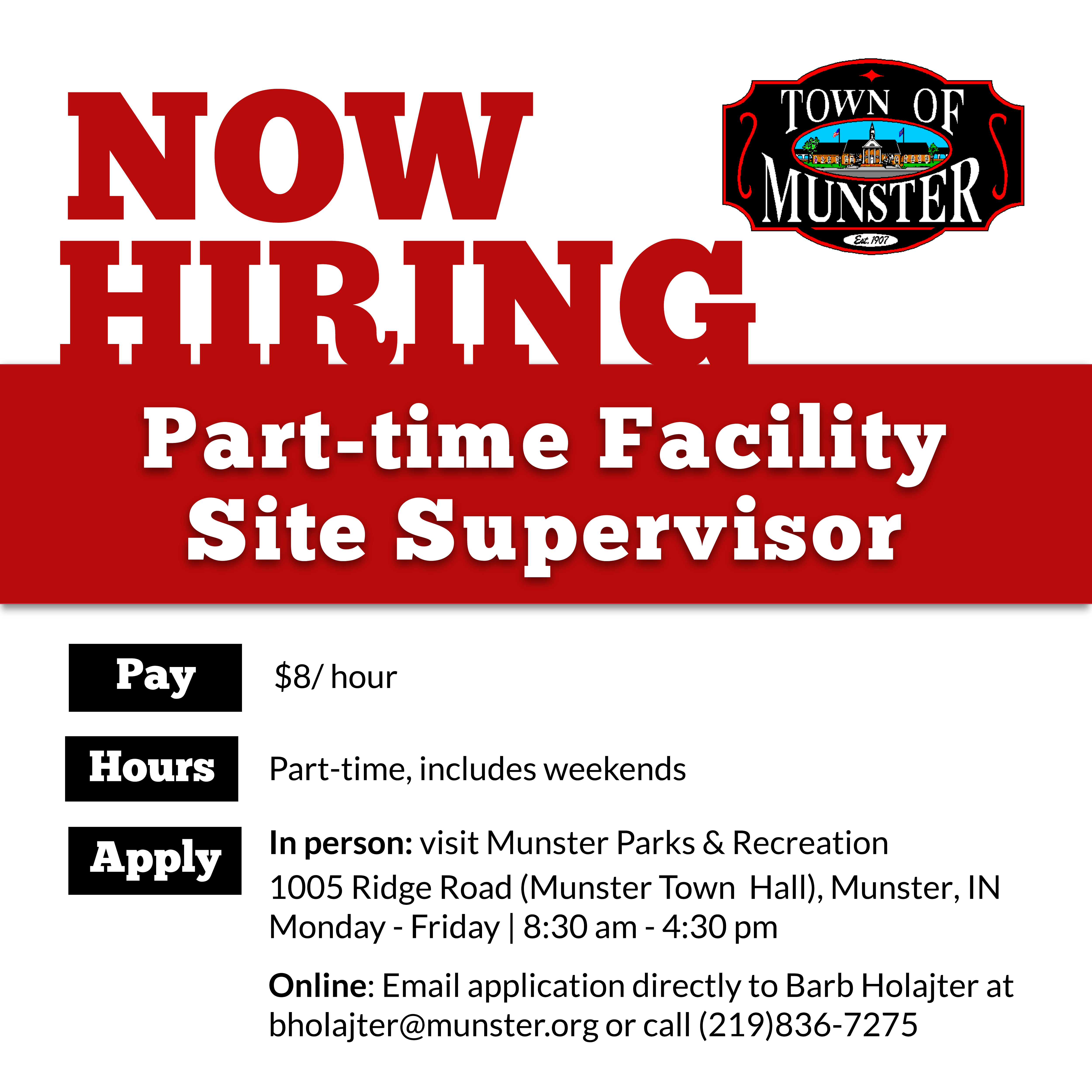 Image for news story: Now Hiring: Part-time Facility Site Supervisor