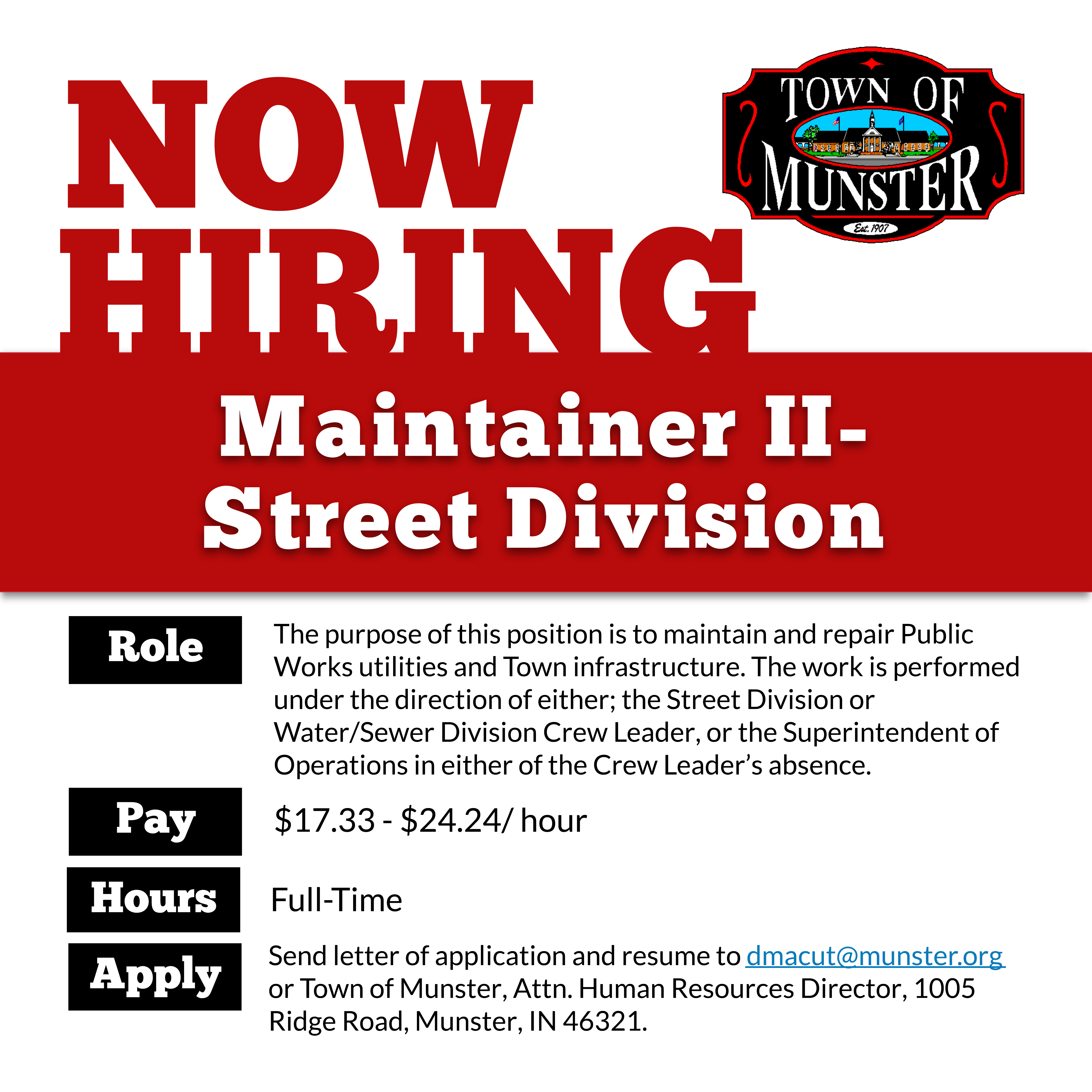 Image for news story: Now Hiring: Maintainer II - Street Division