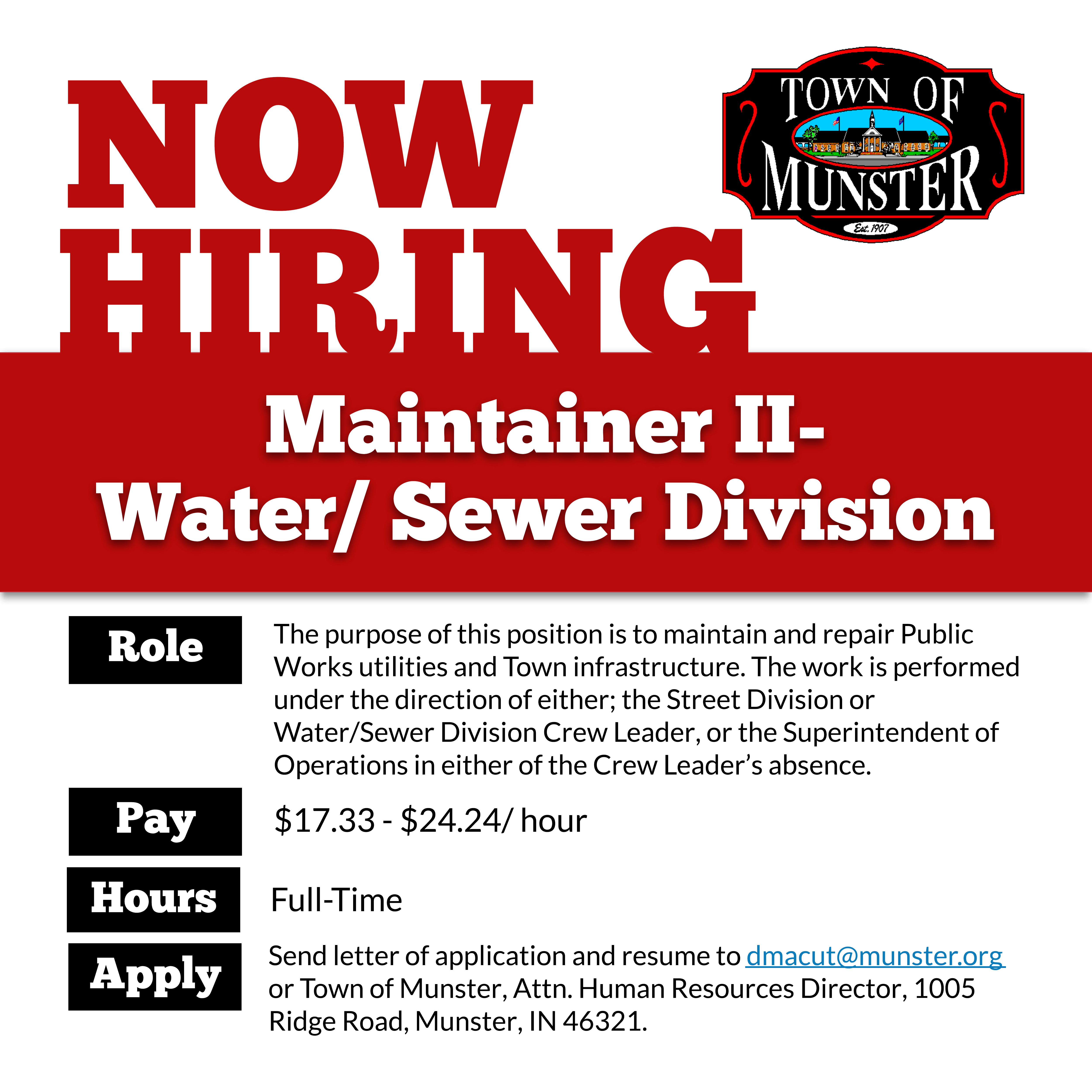 Image for news story: Now Hiring: Maintainer II - Water/Sewer Division